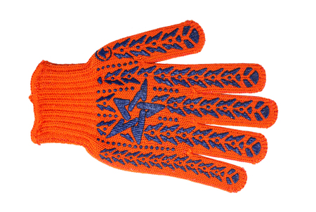 Construction, repair, tools - Orange Working Gloves on a white background. It is isolated, the worker of paths is present.