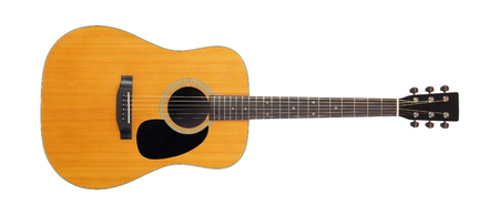 Musical instrument - Front view classic vintage acoustic guitar isolated on a white background.
