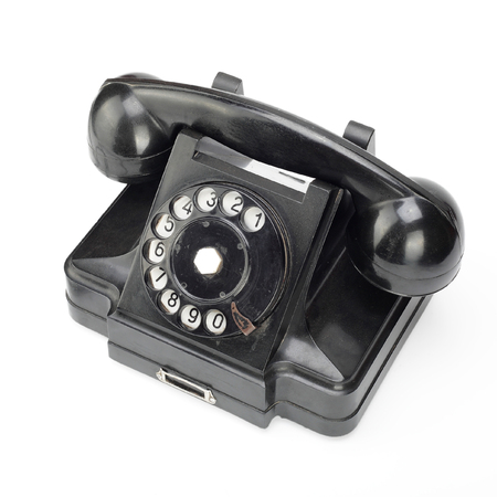 Beautiful black vintage phone on a white background.