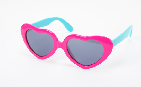 Clothes, shoes and accessories - Child purple heart modern sunglasses on a white background.
