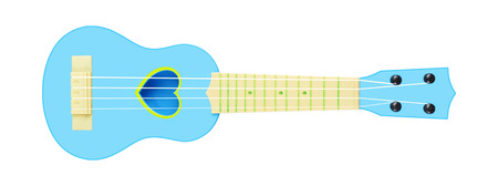 Musical instrument - Front view blue child baby ukulele acoustic guitar isolated on a white background.