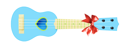 Musical instrument - Front view gift blue child baby ukulele acoustic guitar a red bow isolated on a white background. Imagens