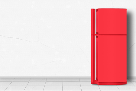 Major appliance - Red refrigerator in front on a white wall background