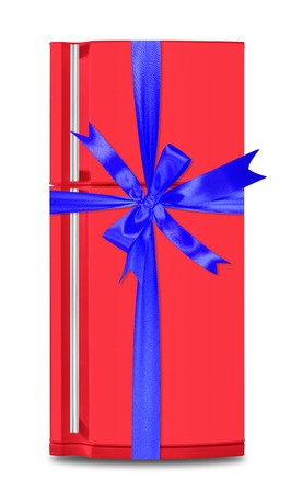 Major appliance - The red refrigerator fridge gift tied blue bow on a white background. Isolated Imagens