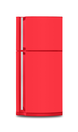 Major appliance - The red Refrigerator fridge on a white background. Isolated