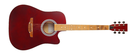 Musical instrument - Front view brown cutaway electric acoustic guitar on a white background. Isolated