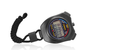 Sports equipment - Black Digital electronic Stopwatch on a white background reflection Imagens
