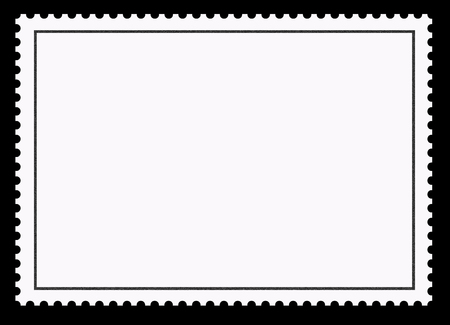 Postage stamps. Clear blank border on a black background.