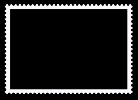 Postage stamps. Clear blank border photo frame isolated on a black background.