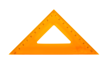 Science and education - Orange set square triangle isolated on a white background. Imagens