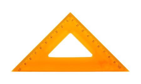 Science et éducation - Triangle carré orange isolé sur fond blanc.