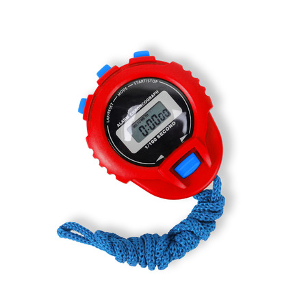 Sports equipment - Red blue Digital electronic Stopwatch on a white background. Isolated Imagens