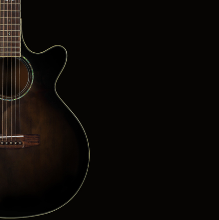 Musical instrument - Silhouette of a brown acoustic guitar with cutaway on a black background.
