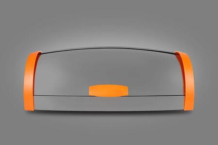Kitchen capacities - Aluminium breadbox with orange sides on a grey background. Isolated Imagens