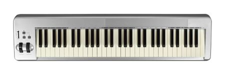 Musical instrument - Sloseup MIDI piano 61 key keyboard on a isolated white background Stock Photo