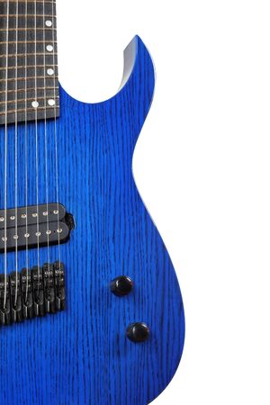 Musical instrument - Silhouette of a blue 8-srtings electric guitar on a white background.