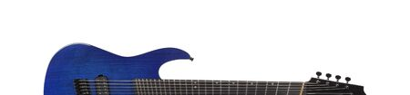 Musical instrument - Silhouette Blue 8-srtings guitar on a white background.