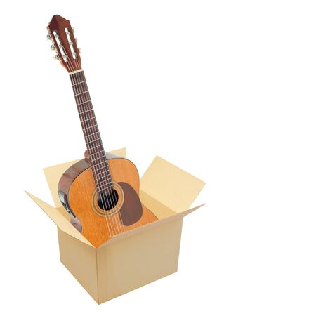 Postage and packing service, Music and sound - Classic guitar in package on a white background. Isolated.