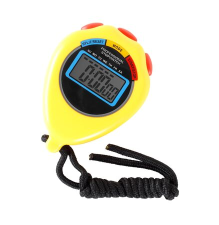 Sports equipment - Yellow Digital electronic Stopwatch on a white background. Isolated