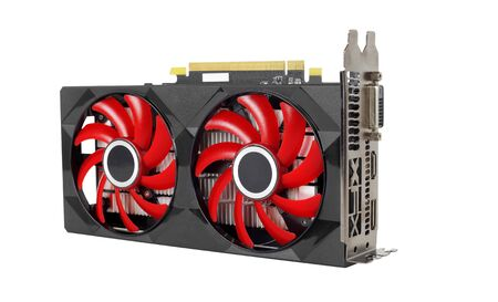 Computer PC components - Display video graphics card adapter and red cooler isolated on a white background. Imagens