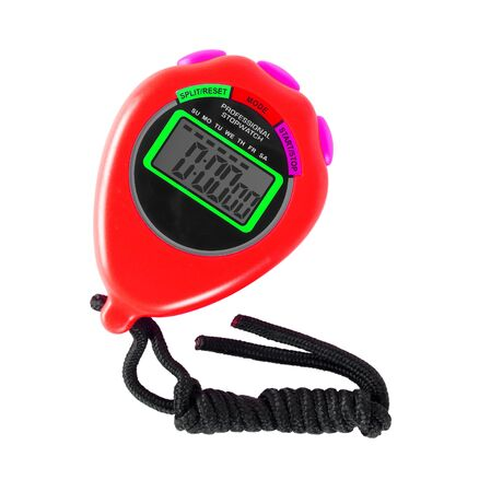 Sports equipment - Red Digital electronic Stopwatch on a white background. Isolated Stockfoto