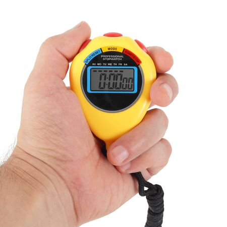 Sports equipment - Yellow Digital electronic Stopwatch in a hand on a white background. Isolated