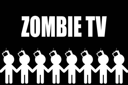 TV - Zombiing of people. Influence of promotion of mass media on the identity of the person. Zombie TV Banco de Imagens