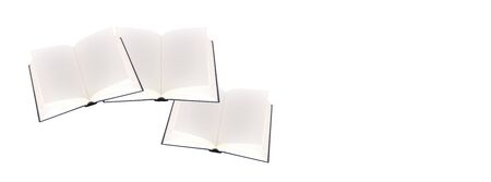 Science and education - Three open empty textbook isolated on a white background