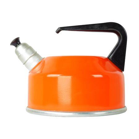 Kitchen utensils - Orange whistling kettle isolated white background
