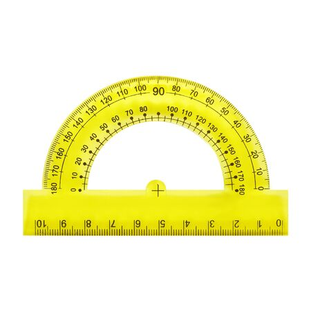 Science and education - Yellow protractor isolated on a white background.