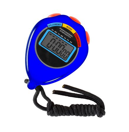Sports equipment - Blue Digital electronic Stopwatch red button on a white background. Isolated