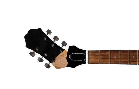 Guitar repair and service - Top view Broken Headstock acoustic guitar isolated white background