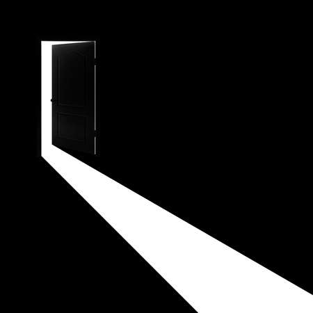 Concept - Light from open door on a black background.