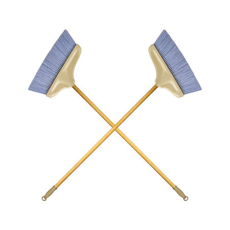 Cleaning equipment - Two crossed brooms with wooden handle isolated white background Zdjęcie Seryjne
