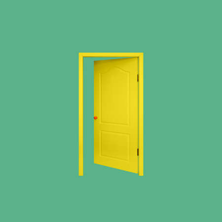 Furniture - Yellow inside open door in the orange handle isolated on a green background.