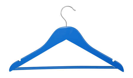 Clothes, shoes and accessories - Blue wooden clothes hangers isolated on a white background.
