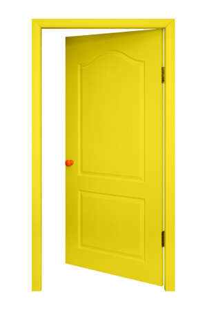 Furniture - Yellow inside open door in the orange handle isolated on a white background. 免版税图像