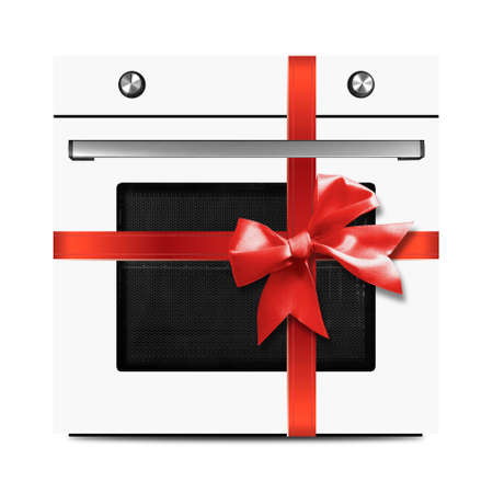 The white electric oven gift tied red bow on a white background. It is isolated, the worker of paths is present.