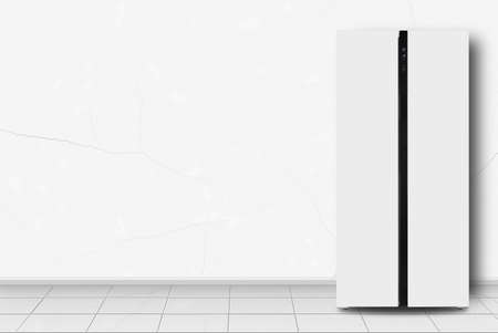 Major appliance - Two-door side by side refrigerator in front on a white wall background 免版税图像