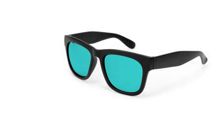 Clothes, shoes and accessories - Black modern sunglasses with turquoise lenses on a white background. Standard-Bild