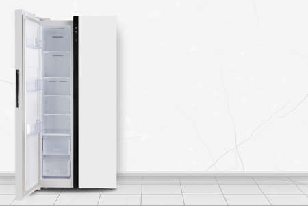 Major appliance - Left open Two-door side by side refrigerator in front on a white wall background Standard-Bild