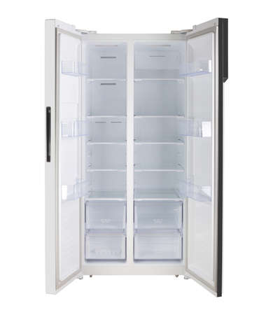 Major appliance - Front view white open doors two-door side by side refrigerator fridge on a white background. Isolated