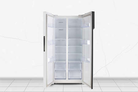 Major appliance - Open Two-doors side by side refrigerator in front on a white wall background