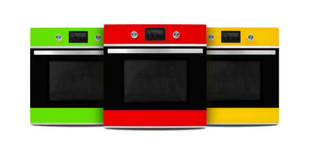 Household appliances - Red, green and yellow electrical ovens isolated on a white background. Standard-Bild