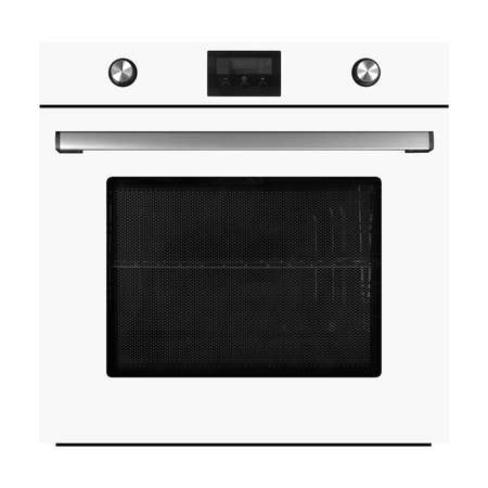 Household appliances - White electrical oven with display isolated on a white background.