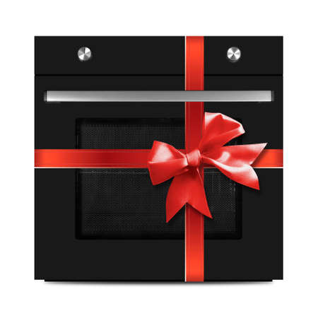 The black electric oven gift tied red bow on a white background. It is isolated, the worker of paths is present.