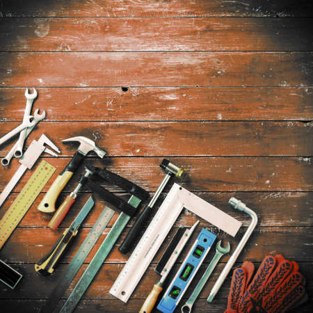 Closeup Top view tools building and repair set on a vintage wooden background Standard-Bild