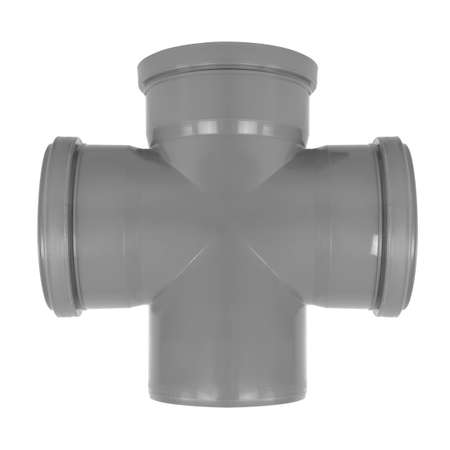 Plumbing and sewerage - Triple Socket 90 degree PVC fitting sewerage system three mouth reduction isolated on a white background