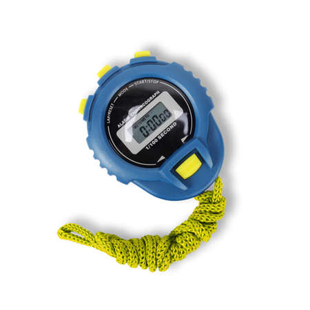Sports equipment - Blue and Yelloy Digital electronic Stopwatch on a white background. Isolated
