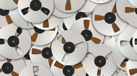 Vintage Aluminum reel spool Magnetic tapes set abstract seamless geometrical patterns background. Reklamní fotografie